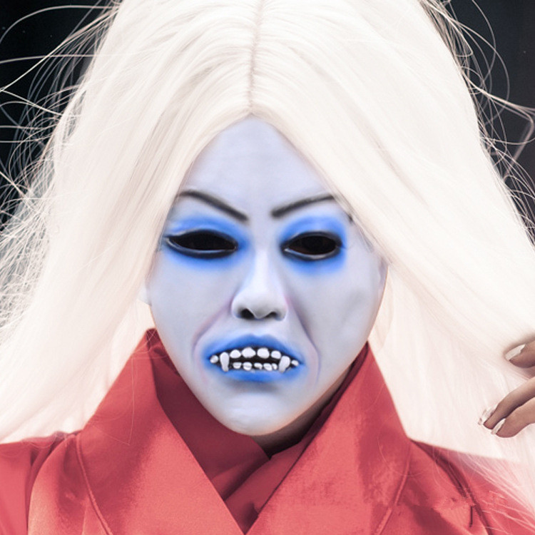 Cosplay Movie Bride with white hair devil ghost Zombie Mask Halloween Mask Head Creepy Scary Trick Prank toy costume party prop