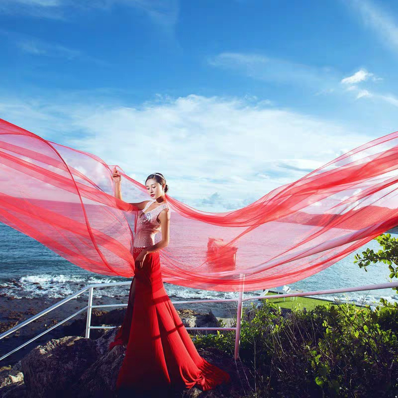 Купить с кэшбэком 6 10 15 20 30 Meters Wedding Picture Party Bridal Extra Long 6 10 15 20 30M Red Soft Mesh Tulle Veil Bride Veils Without Comb