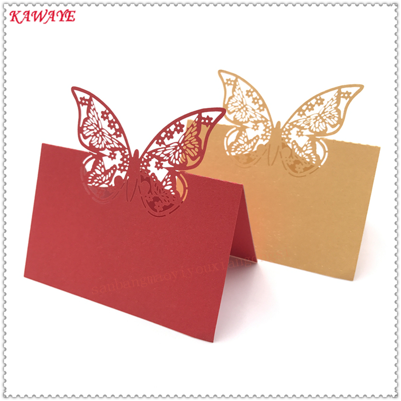 Cards & Invitations 50pcs Hollow Butterfly Style Wedding Laser Cut Decor Table Cards Place Setting Name Card For Wine Glass Party Wedding Decoration