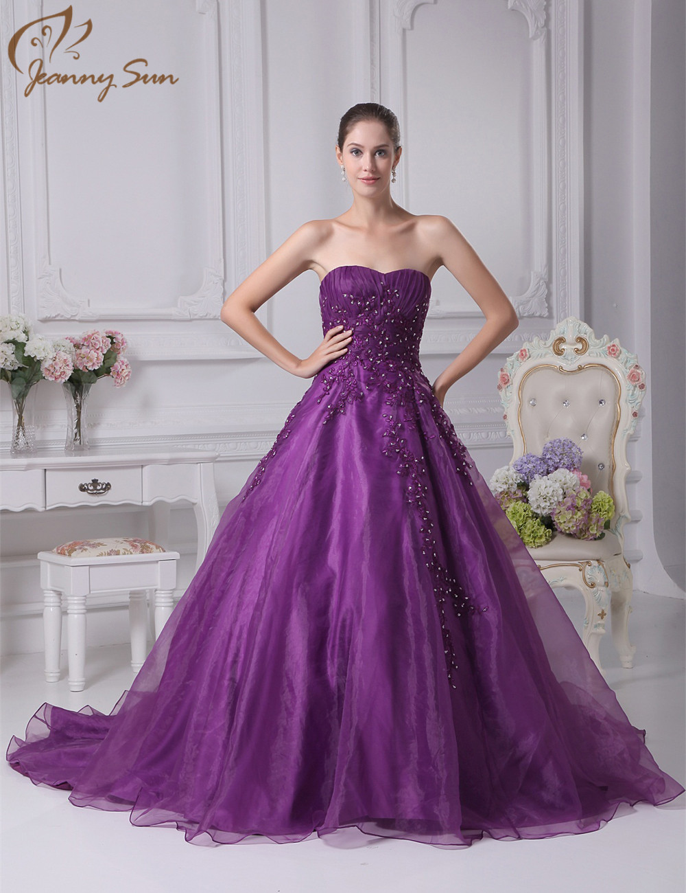 Jeanny Sun Purple Wedding Dresses with Beading Appliques Sweetheart ...