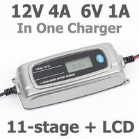 12V 4A 6V 1A 11 stage Smart Battery Charger For Car Charger LCD Intelligent Battery Charger in The Car Battery Maintainer