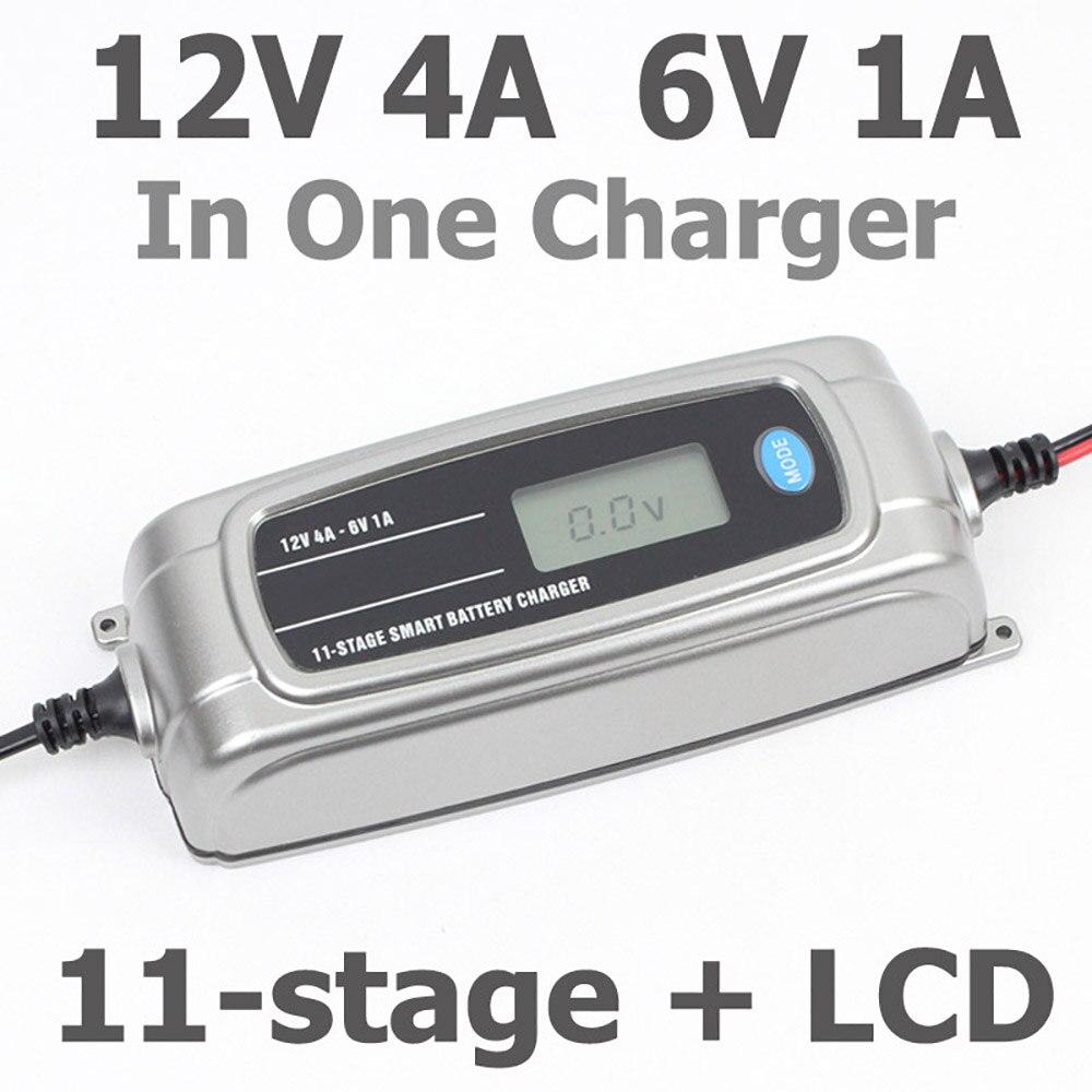 Chargeur de batterie Intelligent en 11 étapes 12 V 4A 6 V 1A pour chargeur de voiture chargeur de batterie Intelligent LCD dans le responsable de la batterie de voiture