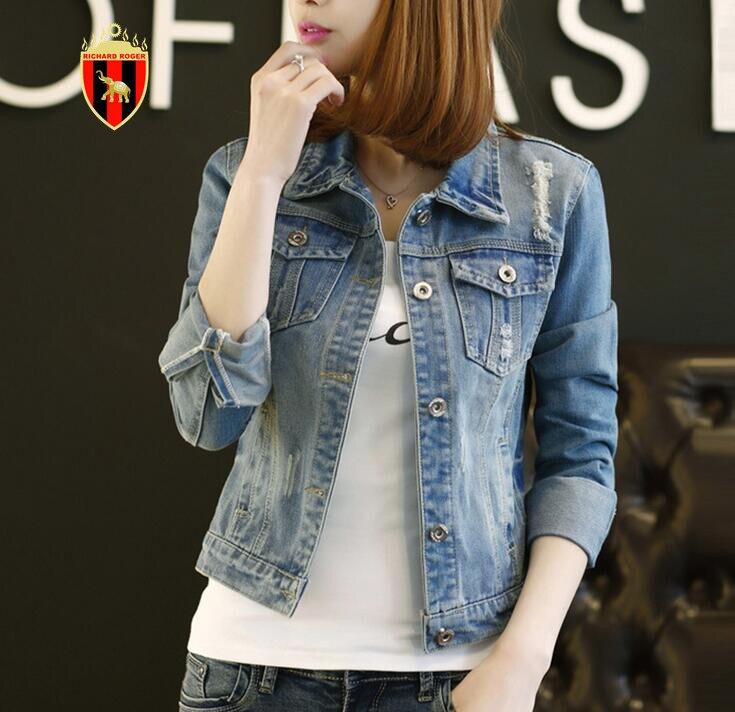 RICHARDROGER Brand Plus Size Oversize Denim Jacket Women 2018 Spring Cotton Slim CasualLight Wash Long Sleeve Jeans Jacket Coats