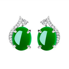 Everoyal Charm Lady Crystal Green Stud Earrings For Girls Accessories Fashion 925 Sterling Silver Earring Female Jewelry Silver стоимость