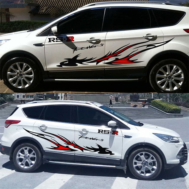 Rs power fire totem style car side decor stickers and decals for ford focus 2