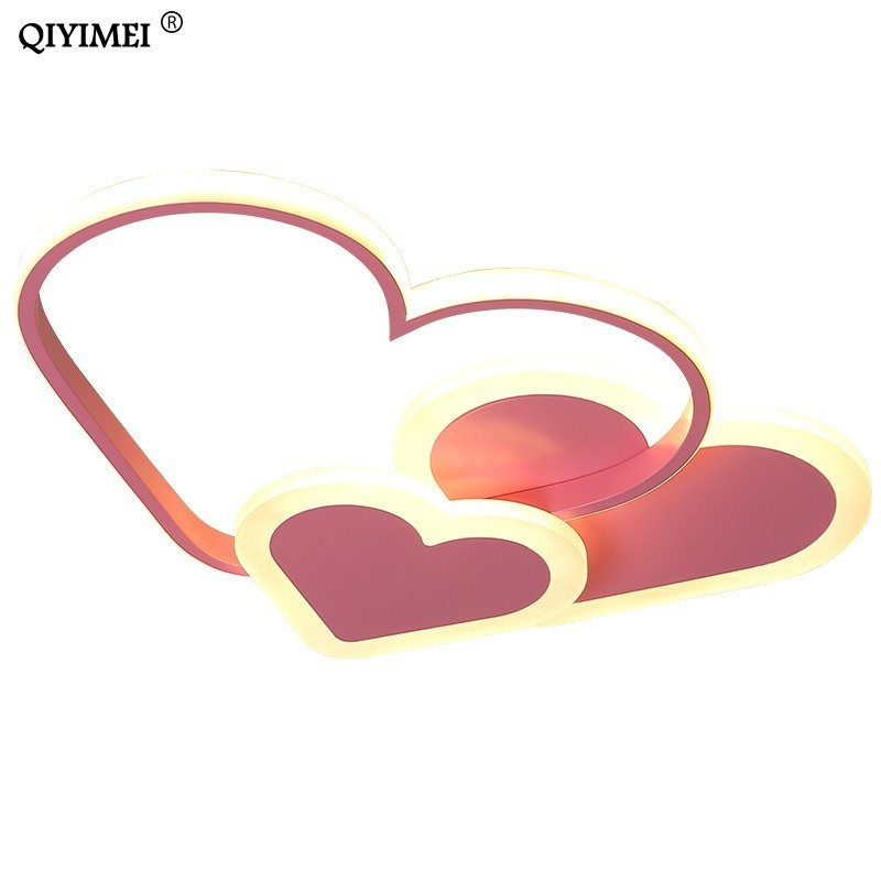 Heart Led Chandelier Light For Girl Room Bedroom Plafond Acrylic Lighting Lamp Modern New Fixture Lampadario Luminaire Lustres