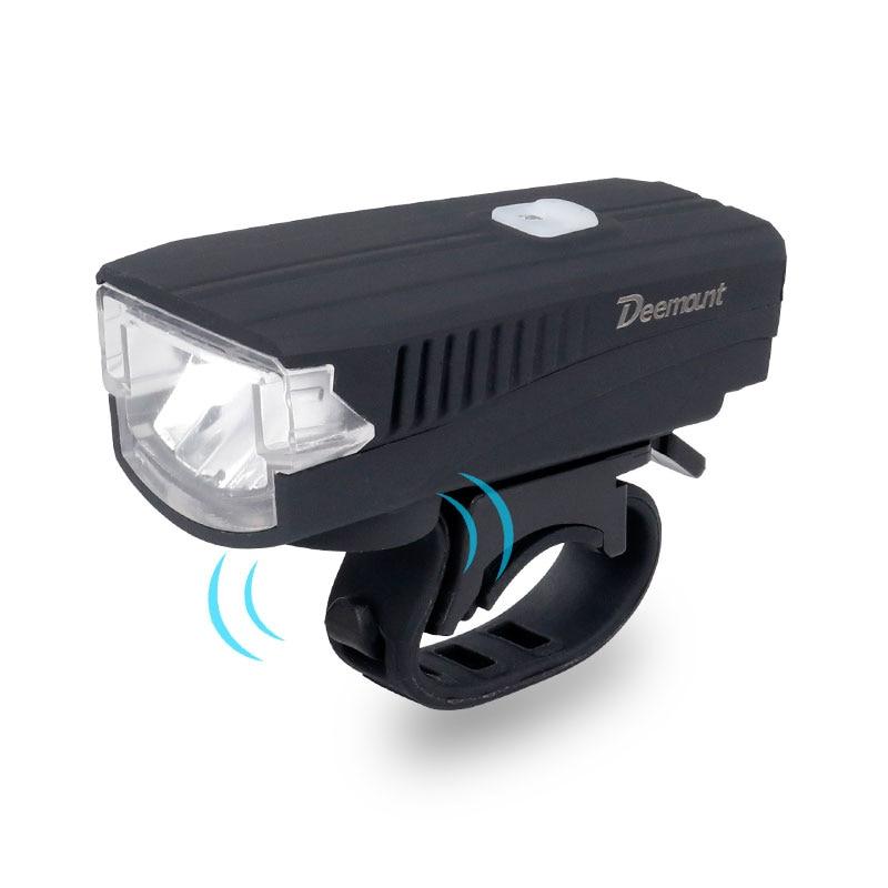 Deemount Bicycle Headlight + Horn USB Charge Bike Front LED Lamp Lantern Bell Siren Alert Trumpet Audio Warning 350Lm 120DB