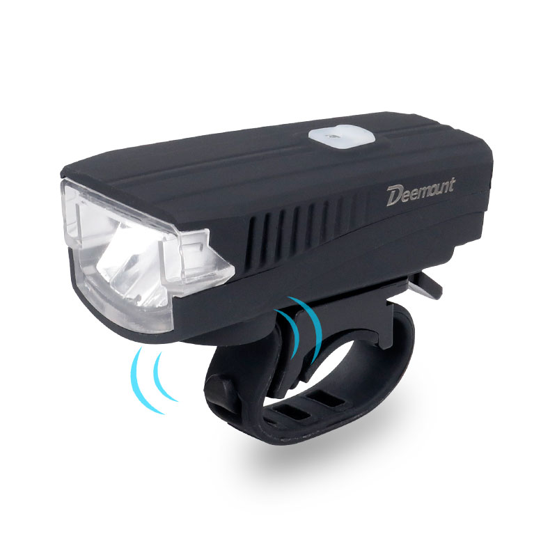 Deemount Bicycle Headlight + Horn USB Charge Bike Front LED Lamp Lantern Bell Siren Alert Trumpet Audio Warning 350Lm 120DB