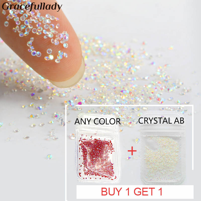 Buy 1 get free 1 Crystal 1.1mm Pixie Crystal Nail Rhinestone Glass Micro Rhinestones For 3D Nails Art Decorations Manicure Tools