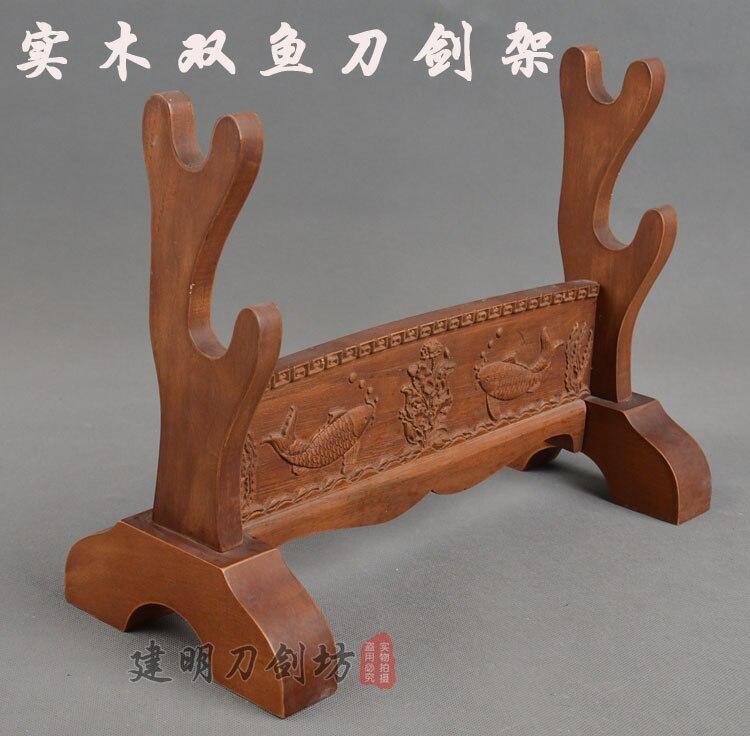 Schöne Feste Holz Ständer Für Japanische Schwert Samurai Katana Wakizashi Schwert Stehen Display Halter Stehen Geschnitzten Fisch-in Schwerter aus Heim und Garten bei  Gruppe 1