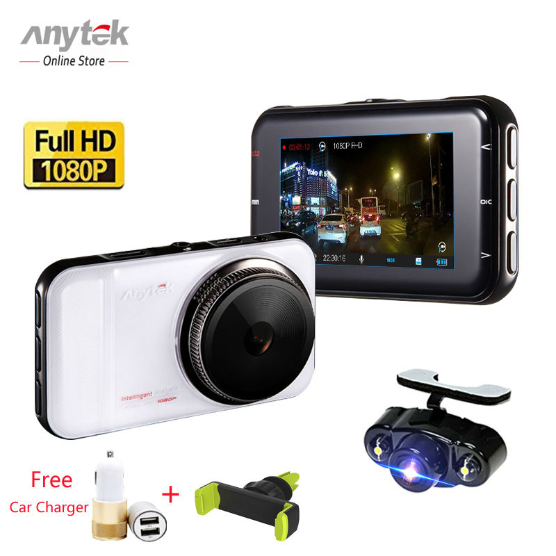 Anytek DVRS Car Camera Dual Lens Night Vision Vehicle Dash Cam Video Record Tracker Full HD Rear View Cameras MIC USB Auto DVR dual dash camera car dvr with gps car dvrs car camera dvr video recorder dash cam dashboard full hd 720p portable recorder dvrs