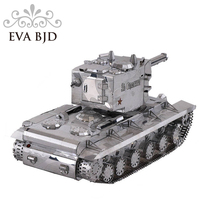 3D Metal Model tanks kit DIY Puzzle Toy Military Soviet heavy KV 2 Laser Cut Assemble Jigsaw Gift For Boy Audit C0001