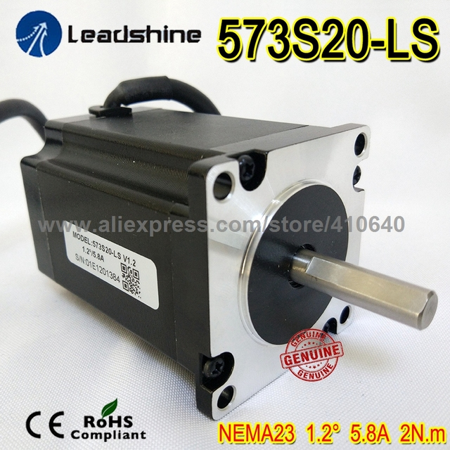 NEMA23 Leadshine 3 Phase 1.2 degree Hybrid Servo Motor 573S20-LS WITH LONGER SAHFT 2.0 N.m torque And 2.2 Meter Cable