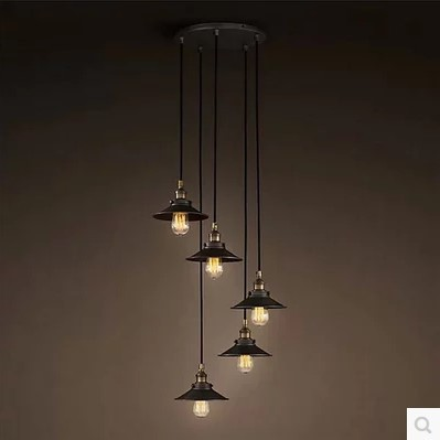 American Retro Loft Style Industrial Lighting Fixtures Vintage Pendant Lamp with 6 Edison bulb Lights Lamparas Colgantes 2pcs american loft style retro lampe vintage lamp industrial pendant lighting fixtures dinning room bombilla edison lamparas