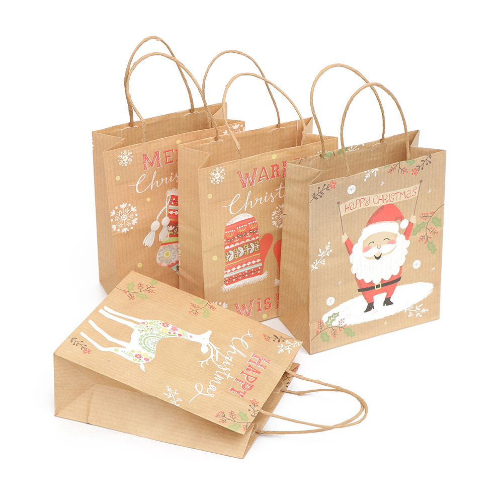 1pc Or 1set Christmas Package Kraft Paper Bags With Handle