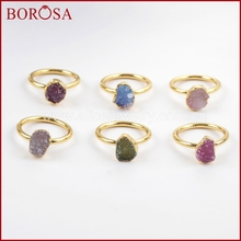 BOROSA צבעים מעורבים אלגנטיים זהב צבע קשת צורה חופשית Druzy טבעות לנשים, אופנה טבעות מפלגה תכשיטי Drusy כמתנה G1450