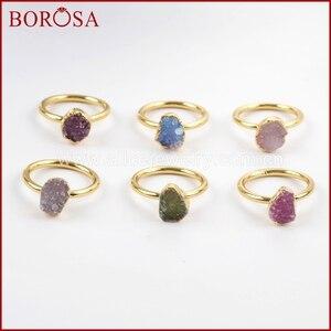 Image 1 - Borosa 우아한 혼합 된 색상 골드 컬러 freeform 레인 보우 druzy 반지 여성, 패션 drusy 쥬얼리 파티 반지 선물 g1450