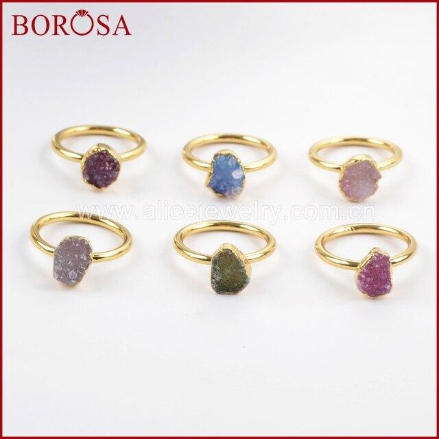 Borosa 우아한 혼합 된 색상 골드 컬러 freeform 레인 보우 druzy 반지 여성, 패션 drusy 쥬얼리 파티 반지 선물 g1450