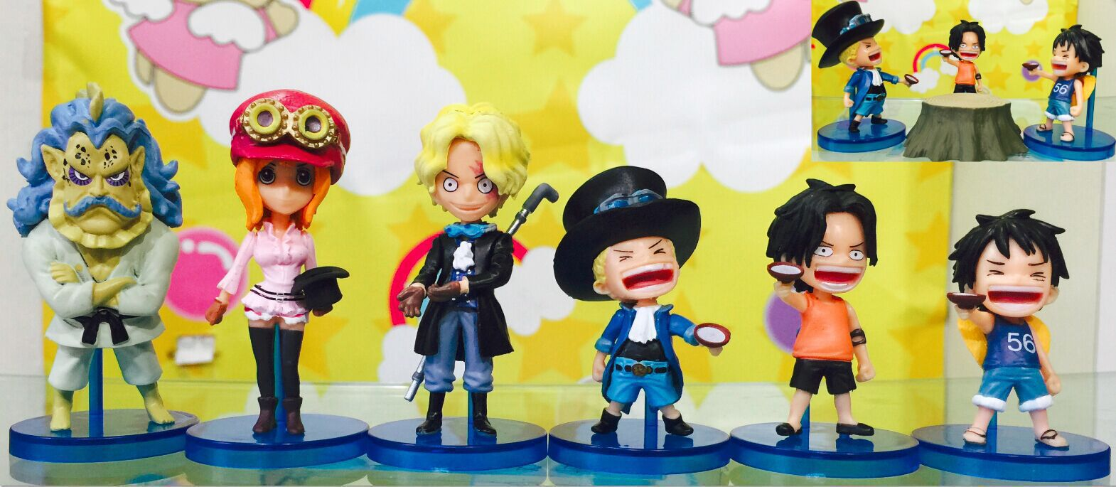 Anime Cartoon One Piece WCF HISTORY OF SABO PVC Action Figures Collectible Model Dolls Toys 6pcs/set KT472