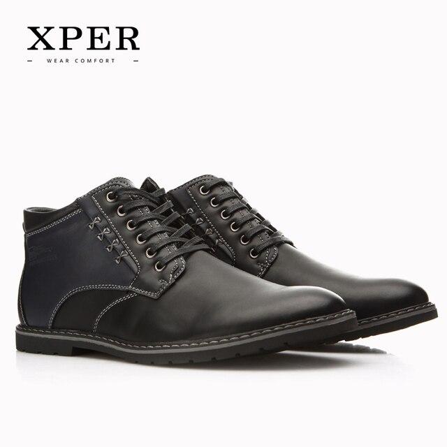 XPER Марка Осень Зима Мужская Обувь Сапоги Повседневная Мода Высоким Вырезом на шнуровке Теплые Hombre # YM86901BU