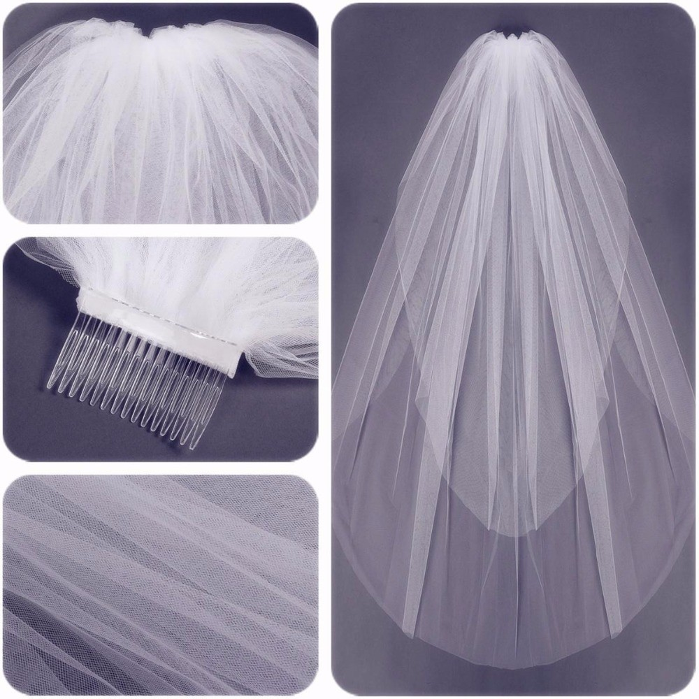 Short Soft Tulle Wedding Veils Two Layers Cut Edge Wedding Veil With Comb 2019 In Stocks