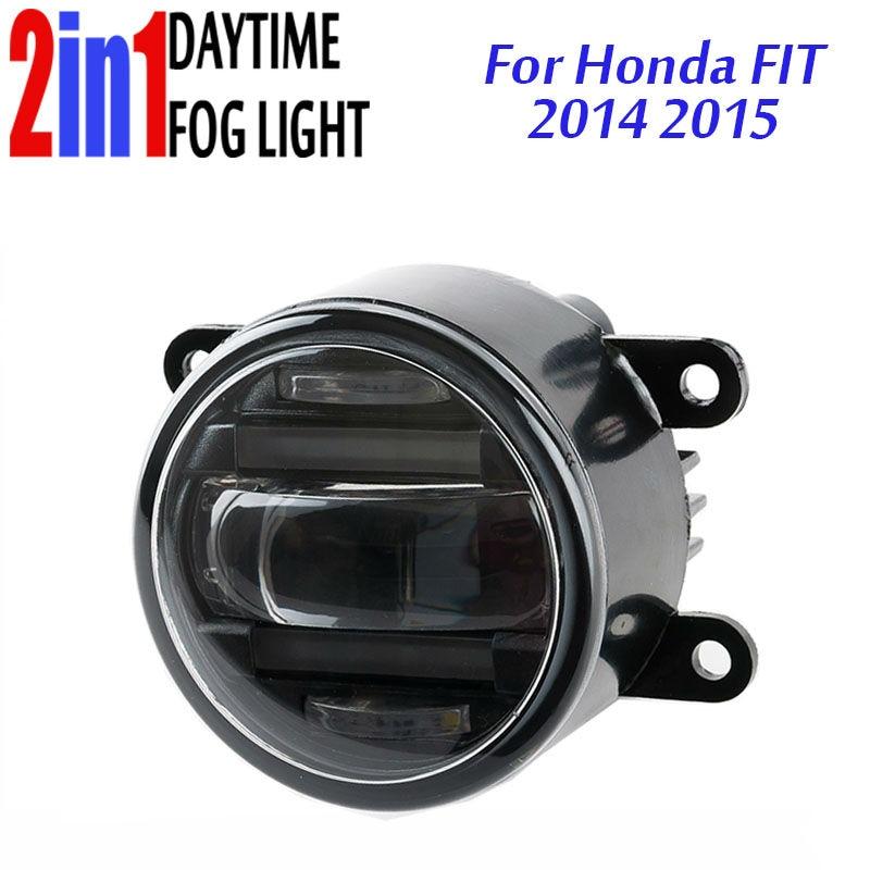цены 3.5 Inch 90mm Round LED Fog Light Daytime Running Lamp LED Chips Fog Lamp DRL Lightings Lens for Honda Fit Jazz 2014 2015