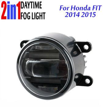 3.5 Inch 90mm Round LED Fog Light Daytime Running Lamp LED Chips Fog Lamp DRL Lightings Lens for Honda Fit Jazz 2014 2015
