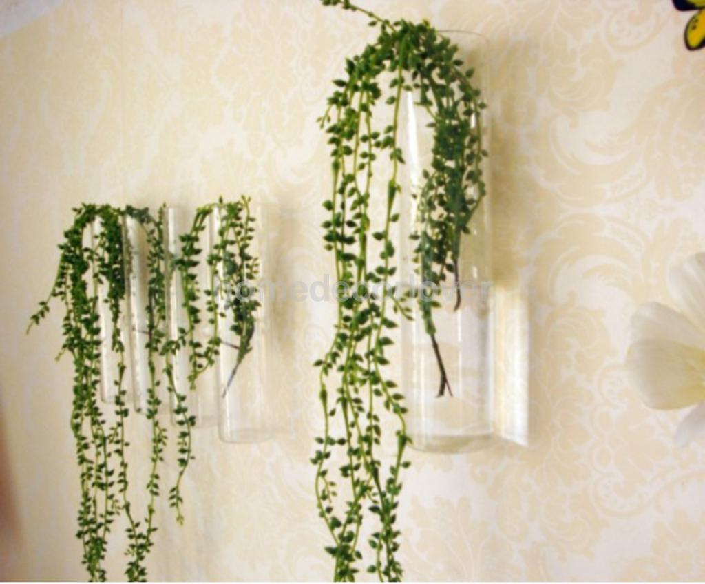 Cylinder Clear Glass Wall Hanging Vase Bottle for Plant Flower Decorations in