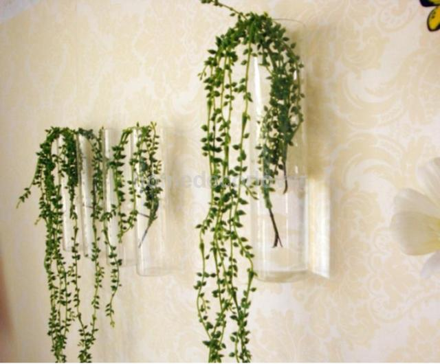 Cylinder Clear Glass Wall Hanging Vase Bottle For Plant Flower