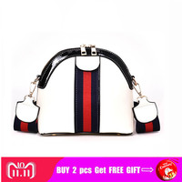 2018 Vintage Shell Like Mini Shoulder Bag Pu Patent Leather Women Panelled Crossbody Bags Color White/Red/Black Small Bag
