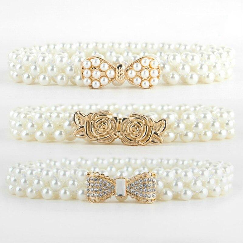 Elegant Women Pearl Crystal   Belt   Waist Flower Elastic Buckle Chain Cummerbunds Female Girls Dress Crystal Strap Waistband Gift