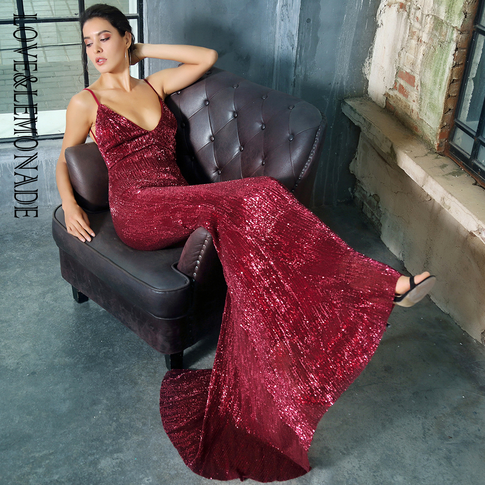 Love Lemonade Deep V Neck Red Wine Open Back Fishtail Slim Elastic Sequins Long Dress LM1326