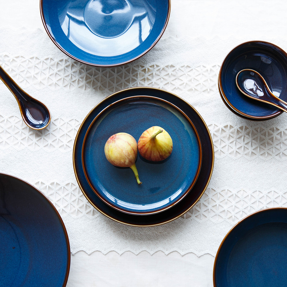 Deep Blue Retro Glazed Ceramic Plates 2