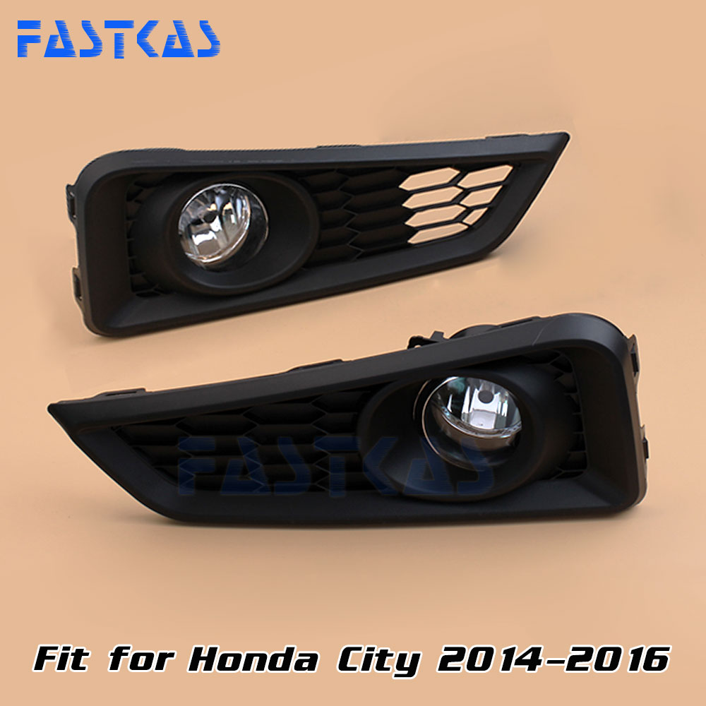 12v 55W Car Fog Light Assembly for Honda City 2014 2015 2016 Front Fog Light Lamp with Harness Relay Fog Light 12v 55w car fog light assembly for ford focus hatchback 2009 2010 2011 front fog light lamp with harness relay fog light
