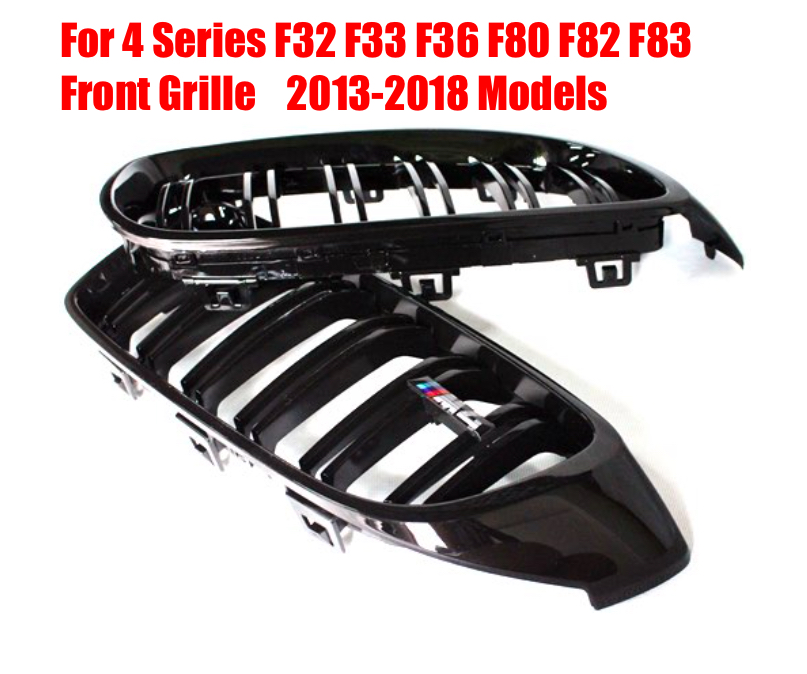RollsRover Pair of Gloss Black Front Grille For BMW 4 Series F32 F33 F36 F80 F82