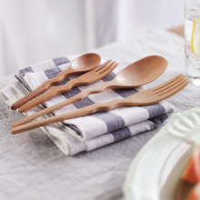 2 pcs/set  Solid color wood Bend fork spoon coffee dessert cake teatime salad tableware Kitchen Home party supplies
