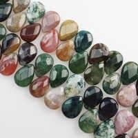 (Freies Verschiffen) 29 Stücke Faceted Indischen Stein Teardrop Lose Perlen 18x13x6mm SHX890