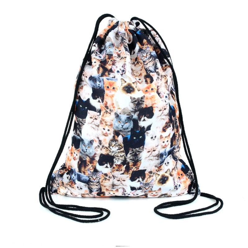 Inventive Novelty Animal Drawstring Bag Backpack Unisex Polyester Bag Drawstring Bags Women Backpack Worek Plecak 2018 Lustrous Surface Luggage & Bags