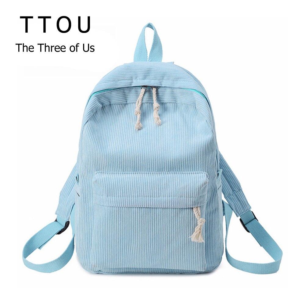 100% Wahr Ttou Frauen Feste Cord Rucksack Mode Scgool Tasche Für Teen Mädchen Große Reisetasche Weibliche Herbst Täglich Rucksack
