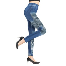 Women\'s Sexy Floral Jeggings High Waist Stretch Denim Printed Leggings with Poc