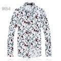 120kg Fit Mens Printed Blouse Elastic Mercerized Cotton Camisa Masculina Big Size 6XL Brand Men Floral Shirts Chemise Homme