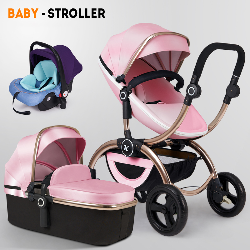 European luxury 3 in 1 stroller high landscape can sit reclining lightweight folding shock absorbers newborn winter and summerEuropean luxury 3 in 1 stroller high landscape can sit reclining lightweight folding shock absorbers newborn winter and summer