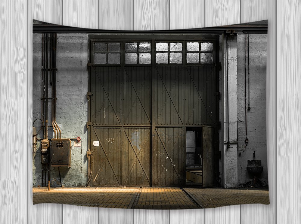 Industrial Decor Tapestry Large Spacious Building Garage ...