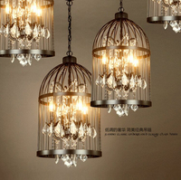 American Country Style Retro Industrial Iron Cage Chandelier Lamp Crystal Lamps Restaurant Bar E14 AC220V Size
