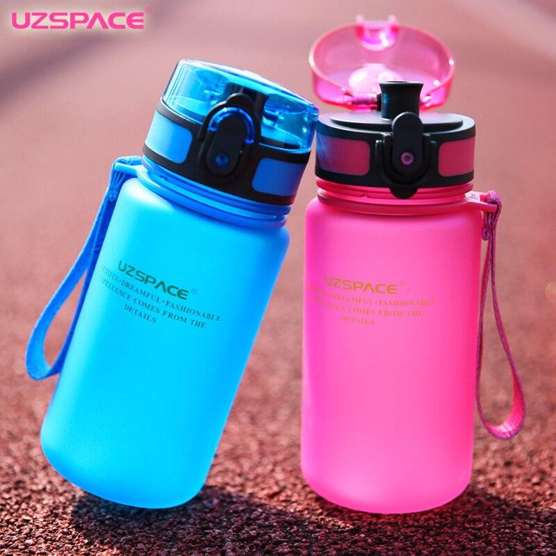 Uzspace 350ML My Water bottle Sports Kid Cartoon Lovely Eco-friendly With Elasticity lid Plastic Shaker Drink bottle BPA Free