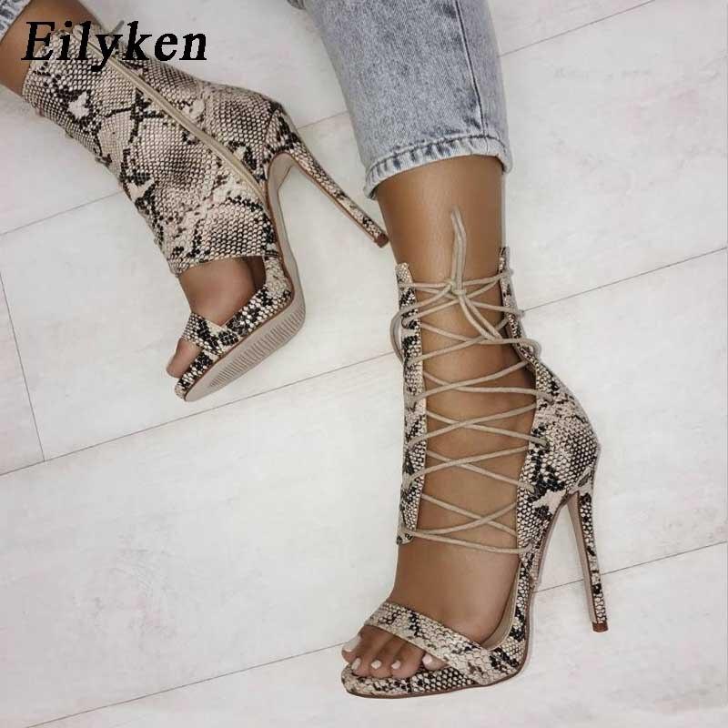 Women's Leopard Open Toe High Heels Ankle Strap Back Zip-up Sandals Pumps Shoes