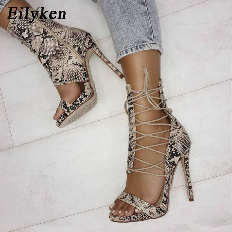 5596a7ad113 US $18.15 21% OFF|Eilyken Gladiator High Heels Leopard Sandals Women Sexy  Sandal Fashion Design Open Toe Lace Up Pumps Shoes Woman Boots-in High  Heels ...