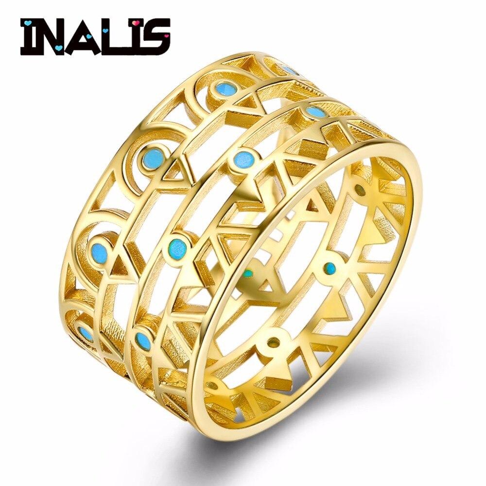 Ringe 2019 Neuer Stil Inalis Luxuriöse Breite 925 Sterling Silber Ring Inlay Türkis Zarten Edlen Schmuck Gelbgold Überzogen Erklärung Für Frauen