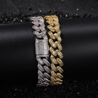 Bling Iced Out Square Zircon Cuban Full AAA Paved Rhinestone Men's Bracelet Gold Silver Copper Bracelets For Men Hip Hop Jewelry