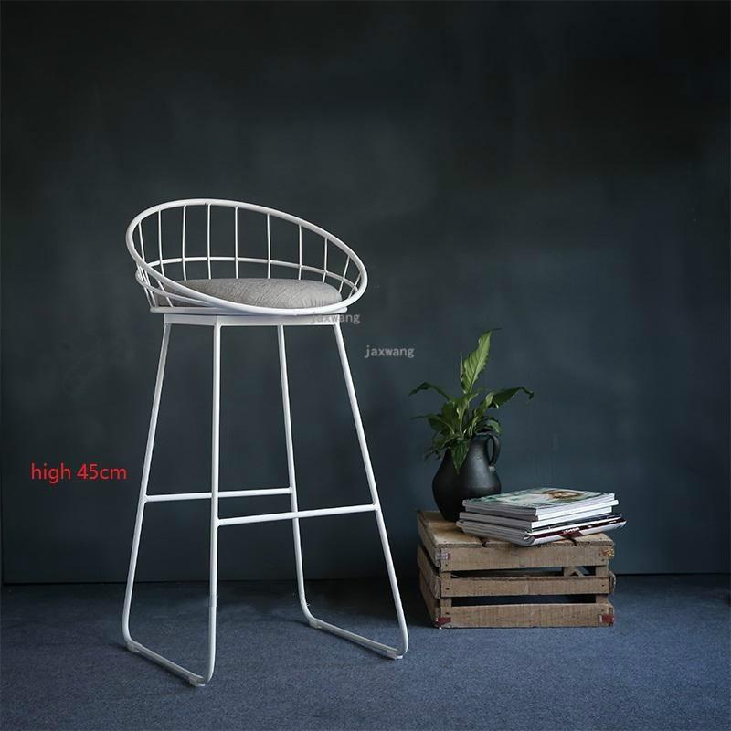 Современный простой барный стул из кованого железа, барный стул, золотой высокий стул, современный обеденный стул, железный стул для отдыха, скандинавский барный стул, трется - Цвет: Height 45CM